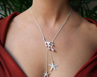 CORAL Necklace,Sterling Silver necklace