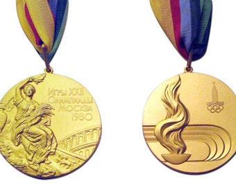 Moscow 2008 Olympic 'Gold' Medal with Ribbon !!!