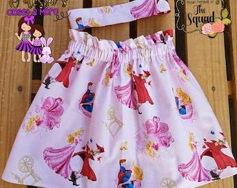 Handmade Girls/Baby Skirts- Atiana's Flowy Skirt- Character Skirt- Sleeping Beauty Skirt