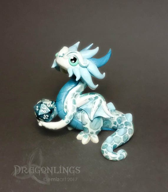 Polymer Dice Holder Dragon- Sparkle White, Light Blue Pearl, and Light Blue Dragonling: Haven