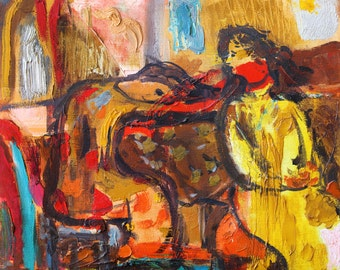 Woman painting, Giclee art print, Oil painting print, Woman print, Figurative art, Female Figures, Living room wall decor, Modern wall art