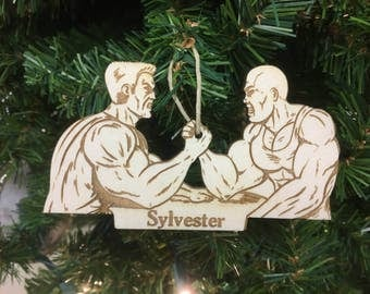 Arm Wrestling Personalized Christmas Ornament