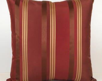 Burgundy, Gold Pillow, Throw Pillow Cover, Decorative Pillow Cover, Cushion Cover, Accent, Golden Tan Striped Pillow, Silk Blend Pillow