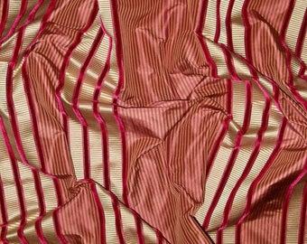 KRAVET COUTURE IMPEND Silk Velvet Stripes Fabric 10 Yards Crimson Burgundy Gold