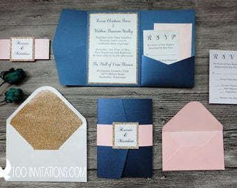 Navy ,Pink and Gold Wedding Invitations,Navy and Pink Pocketfold,Navy and Gold Glitter Pocket Fold Wedding Invitations,Customized Available