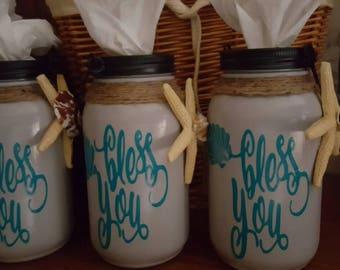 Mason jar beach theme tissue holder .  Bless you. Beach theme. Bathroom decor. Housewarming gift