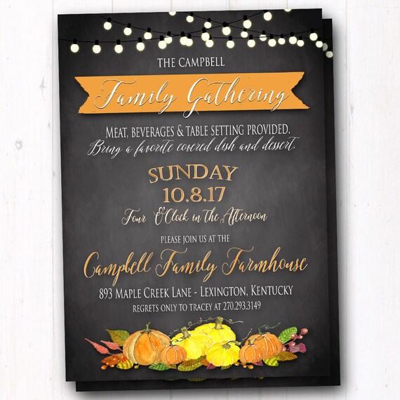Fall Family Reunion Invitation Thanksgiving Dinner Invite