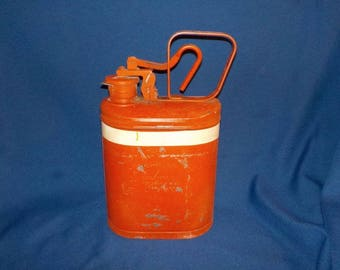 Vintage 1 Gallon Fuel Can. Kerosene Can, Eagle MFG. Co. Wellsburg, W. VA. Made in U.S.A.  Safety Orange