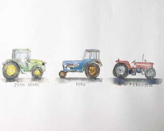 Tractor - ink and watercolour print