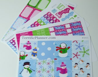 Cute Snowman Weekly Planner Deluxe Sticker Kit and Washi Removable Matte  or Glossy Stickers #133