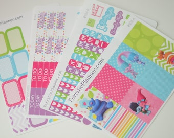 Trolls Weekly Planner Sticker Kit and Washi Removable Matte  or Glossy Stickers #205