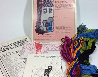 "Vintage Bernat ""Street Scene' House Book End Door Stop Crewel Embroidery Kit"