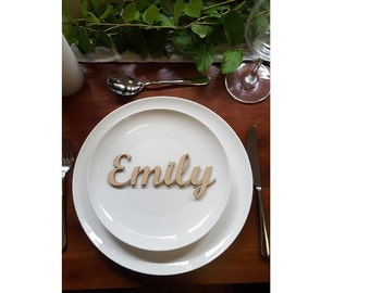 Set of 20 Personalised wedding events seating place names MDF unpainted Style3