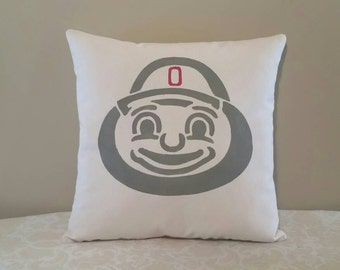 Ohio State Brutus Buckeye Gifts | 14x14 inch pillow | Brutus Buckeye Gift | OSU Gifts | Gifts for OSU Football Fans | Brutus the Buckeye