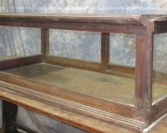 """45"""" Showcase Glass Countertop Counter Country Hardware Store Display Case Oak"""