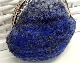 Wool Felt purse felted purse coin pouch small gifts accessory purse jewellery pouch Australian merino wool Blue 11275