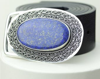 GOLD DOTTED! Genuine Afghanistan LAPIS Lazuli Vintage Filigree Antique 925 Fine S0LID Sterling Silver + Copper Belt Buckle T69