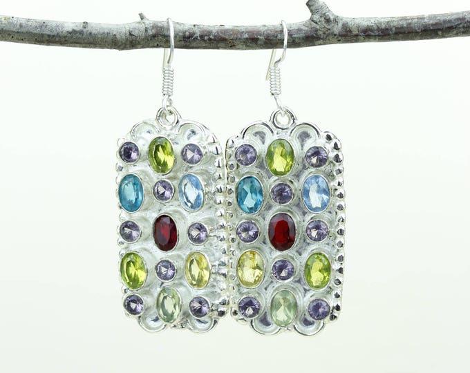 Garnet Peridot Citrine Blue Topaz Amethyst 925 SOLID (Nickel Free) Sterling Silver Italian Made Dangle Earrings e679