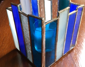 Stained Glass Candle Holder, Shades of Blue, White, Clear