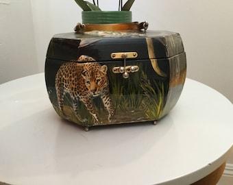 AbFab Animal raised decoupage wood box purse