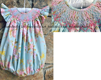 Hand Smocked girls dress short bubble floral Posies fabric with heart and PEARLS Birthday