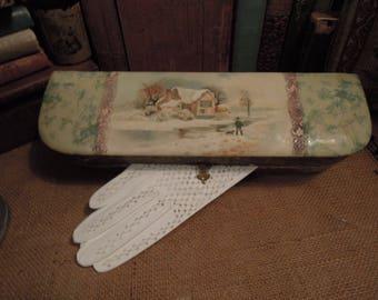 Antique Glove Box / Vintage Celluloid Winter Scene / Edwardian Decorative  Glove Box / Vintage White Leather Gloves