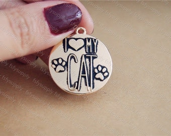 I love my cat charm pendant,25mm,golden Supplies,DIY Supplies