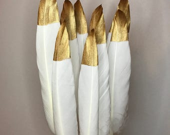 """Hand Painted Gold Tipped White Goose Feathers 4 - 6"""" Long - Great for weddings, crafts, jewellery, millenary + dream catcher making! Natural"""