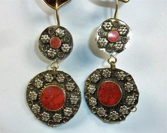 Tribal Earrings, Vintage Kuchi Tribal Hippie Earrings with Colorful Stones in Red, Blue or Green, Handmade Nomad Earrings, Boho Earrings