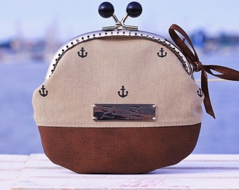 "Frame Coin Purse Handmade, ""Small Anchor Black/Beige"", Cute little Coin Purse, Wallet"