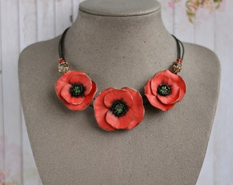 Red Poppy Necklace, Statement poppies necklace, Poppy jewelry, Red flower necklace, Red poppies, Poppy wedding necklace, Christmas gift