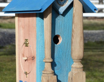 Birdhouse Handcrafted Rustic Cedar with painted details