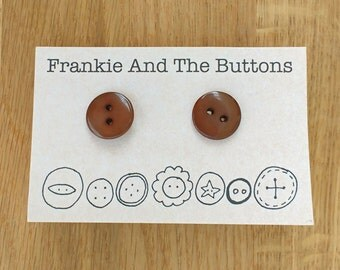 Chocolate button earrings, quirky stud earrings, food jewellery, candy jewelry, unique gift for chocolate lover, Frankie And The Buttons