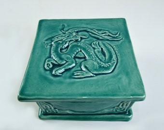READY TO SHIP - Chinese Dragon Ceramic Trinket Box in Turquoise