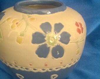 Blue & White Flowered Vase