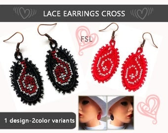 Cross stitch earrings lace - No.350 - FSL - dentelle - 4x4hoop - Machine embroidery file./INSTANT DOWNLOAD