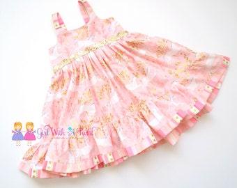 Pink and Gold Dress, Unicorn Dress, Toddler Girls Dress, Ruffle Dress, Unicorn Party Dress, Girls Twirl Dress, Baby Girl Dress, Sequin Dress