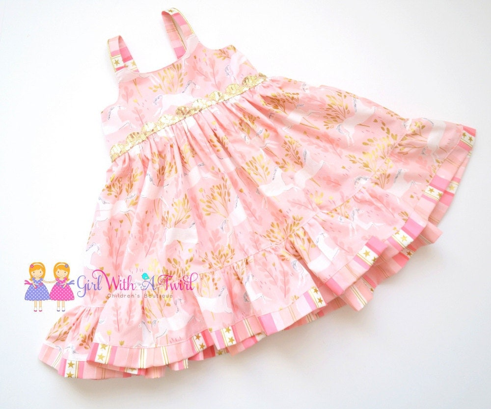 Baby girl pink sequin dress - Pink And Gold Dress Unicorn Dress Toddler Girls Dress Ruffle Dress Unicorn
