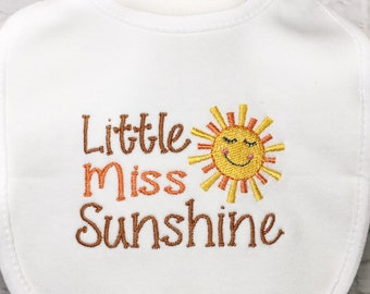 Little Miss Sunshine - Sunshine - Sunshine Baby Shower - Baby Shower Gifts - Embroidered Bibs - You Are My Sunshine - Girl Baby Shower - Sun