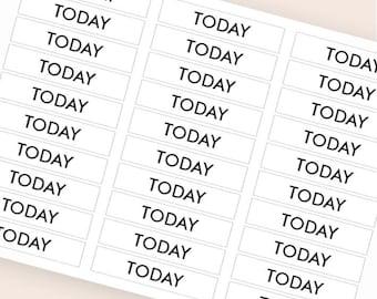 30 black today stickers, plan stickers, header stickers, transparent clear stickers, ec filofax kikki.k planner stickers