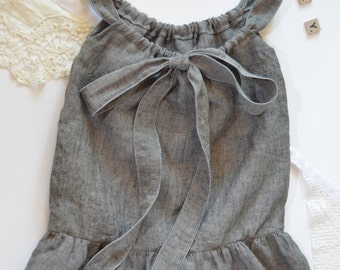 Baby girl linen dress | Natural linen | Grey gray linen dress | 100% linen | Toddler girl summer dress | Size 0-3 | Girls ruffle dress