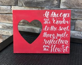 Handpainted heart picture frame