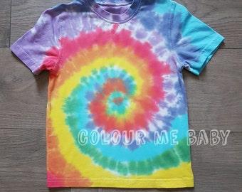 Classic Tie dye rainbow swirl kids tshirt