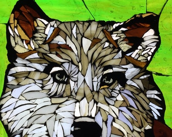 Gray Wolf Stained Glass Mosaic