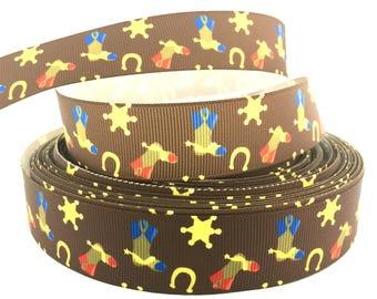 Cowboy Ribbon, Cowboy Grosgrain, Sheriff Ribbon, Sheriff Grosgrain, Boot Ribbon, Boot Grosgrain, Horseshoe Ribbon, Horseshoe Grosgrain