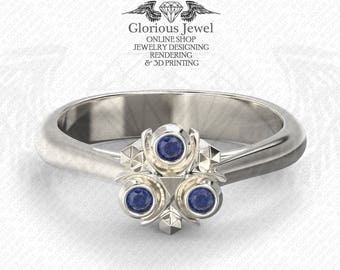 Glorious Zelda Ocarina of time inspired ring Natural blue sapphire/925 silver/ 14K Gold / Custom made / FREE SHIPPING / Made to Order