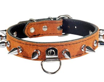 Brown Suede BDSM Collar, Spiked Brown Human Collar, Brown Human Collar, Brown Suede Collar with Spikes, Spiked BDSM Collar