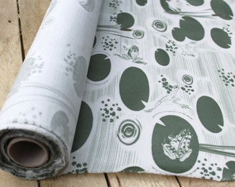 Frog Pond Oil Cloth- Table Cloth- Oil Cloth - Vinyl- Pattern- water- Fabric- Kitchen- Homeware- Frogs- Pond- Illustration - Charlotte Mudd