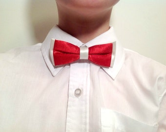 Child bow tie, red and white