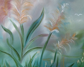 Soft pastel beach plants with birds oil on wrapped canvas 16 x 20